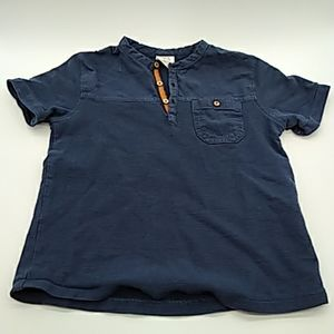 Zara kids blue t shirt buttons size 7 pre owned
